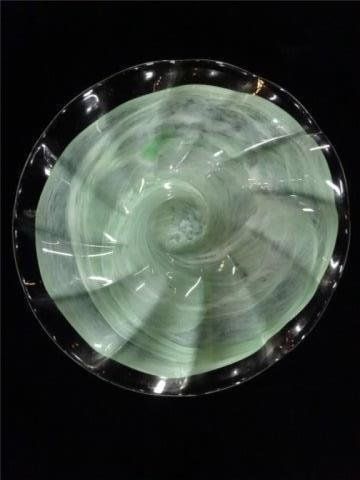 ART GLASS PEDESTAL BOWL, RUFFLED PALE GREEN AND CLEAR - 3