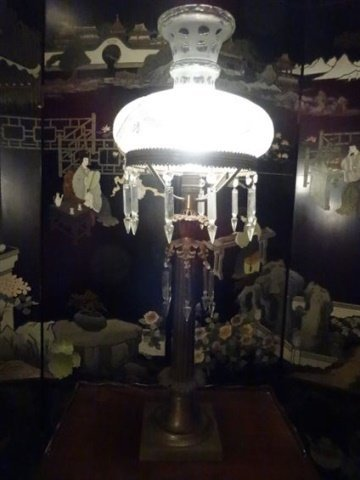 VINTAGE METAL LAMP WITH CRYSTAL DROPS, COLUMN FORM