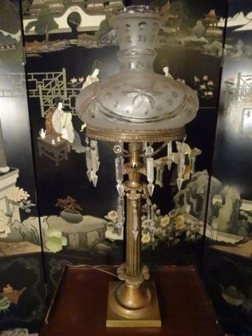 VINTAGE METAL LAMP WITH CRYSTAL DROPS, COLUMN FORM - 2
