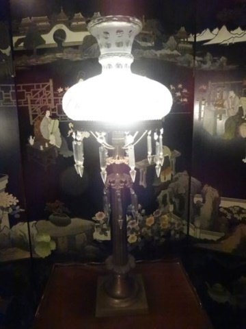 VINTAGE METAL LAMP WITH CRYSTAL DROPS, COLUMN FORM - 3
