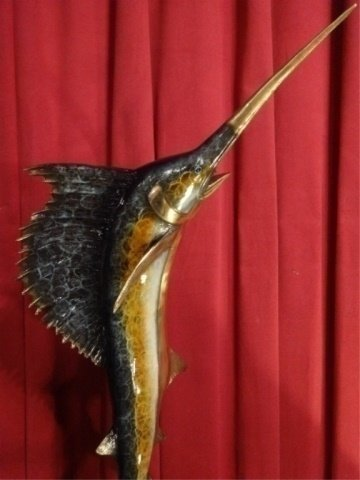 LARGE PATINATED BRONZE SCULPTURE, LEAPING SAILFISH, ON