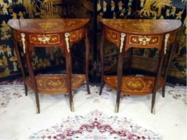 PAIR LOUIS XV STYLE MARQUETRY TABLES, DEMI LUNE INLAID