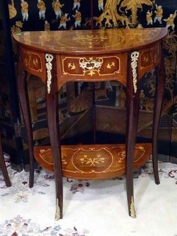 PAIR LOUIS XV STYLE MARQUETRY TABLES, DEMI LUNE INLAID - 2
