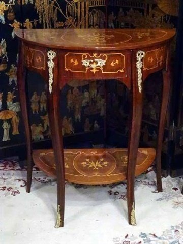 PAIR LOUIS XV STYLE MARQUETRY TABLES, DEMI LUNE INLAID - 3
