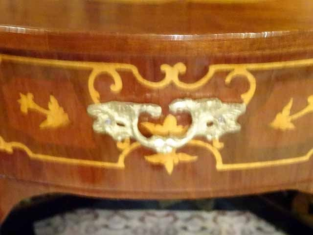 PAIR LOUIS XV STYLE MARQUETRY TABLES, DEMI LUNE INLAID - 4