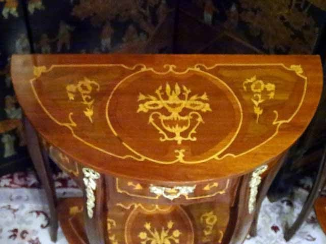 PAIR LOUIS XV STYLE MARQUETRY TABLES, DEMI LUNE INLAID - 5