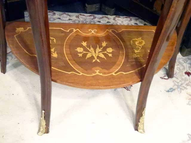 PAIR LOUIS XV STYLE MARQUETRY TABLES, DEMI LUNE INLAID - 7