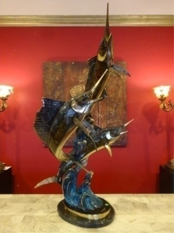 LARGE PATINATED BRONZE SAILFISH AND MARLIN SCULPTURE,