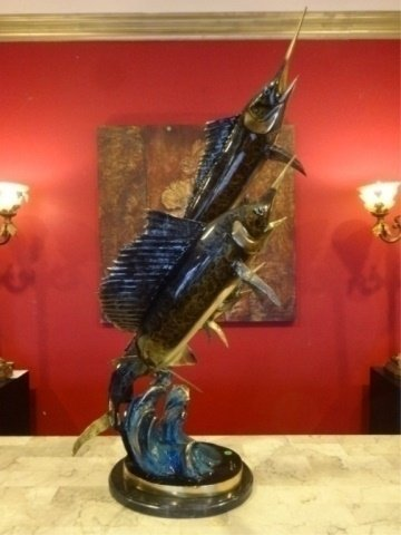 LARGE PATINATED BRONZE SAILFISH AND MARLIN SCULPTURE, - 2