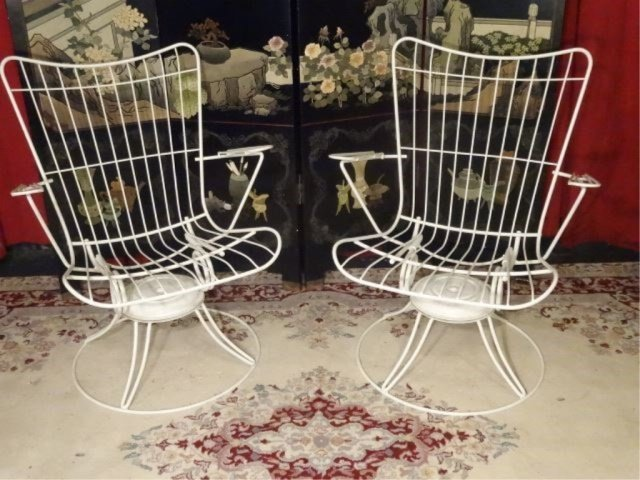 PAIR 1960's HOMECREST WIRE PATIO ARMCHAIRS, WHITE