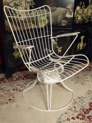 PAIR 1960's HOMECREST WIRE PATIO ARMCHAIRS, WHITE - 2