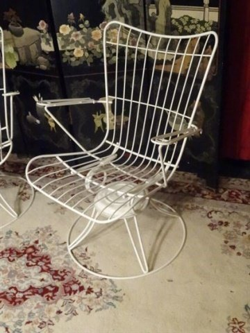 PAIR 1960's HOMECREST WIRE PATIO ARMCHAIRS, WHITE - 3