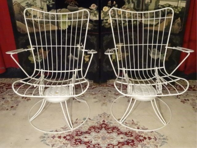 PAIR 1960's HOMECREST WIRE PATIO ARMCHAIRS, WHITE - 4