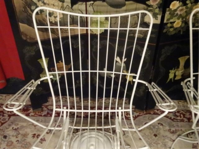 PAIR 1960's HOMECREST WIRE PATIO ARMCHAIRS, WHITE - 5