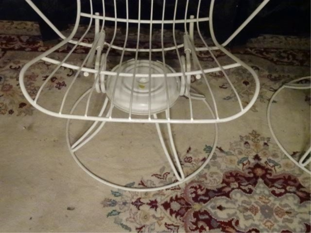 PAIR 1960's HOMECREST WIRE PATIO ARMCHAIRS, WHITE - 6