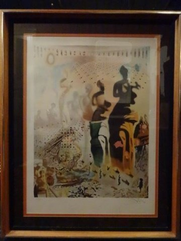 "AFTER SALVADOR DALI PRINT, ""TOREADOR"", FRAMED SIZE"