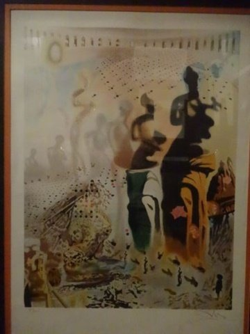"AFTER SALVADOR DALI PRINT, ""TOREADOR"", FRAMED SIZE - 2"
