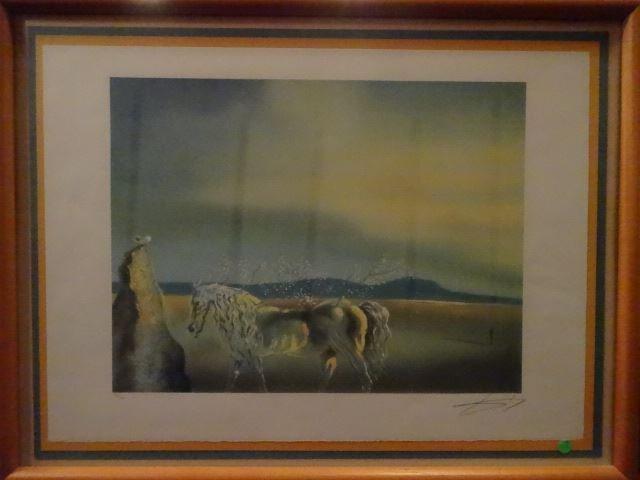 AFTER SALVADOR DALI PRINT, HORSE AND SUNSET, FRAMED