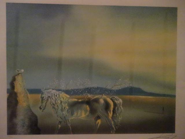 AFTER SALVADOR DALI PRINT, HORSE AND SUNSET, FRAMED - 2