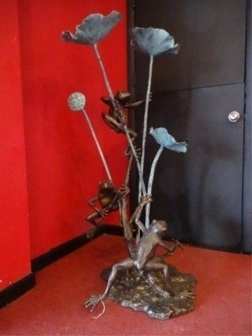 LARGE BRONZE SCULPTURE, 3 TREE FROGS, PLUMBED FOR