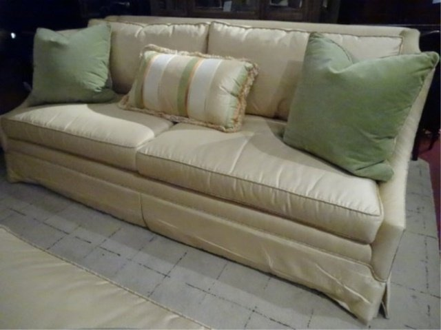 EJ VICTOR SOFA FOR ROBB & STUCKY, PALE YELLOW WITH PALE
