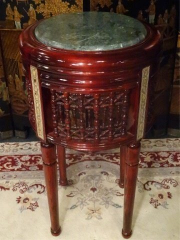 ROUND MARQUETRY TABLE, GREEN MARBLE TOP, EXCELLENT