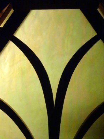 MISSION STYLE LEADED GLASS LAMP, SQUARE SHADE WITH WOOD - 6