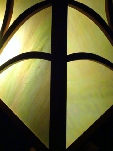 MISSION STYLE LEADED GLASS LAMP, SQUARE SHADE WITH WOOD - 7