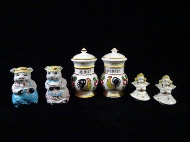 6 PC SALT & PEPPER SHAKERS, 3 PAIRS INCLUDE TALL ACSON