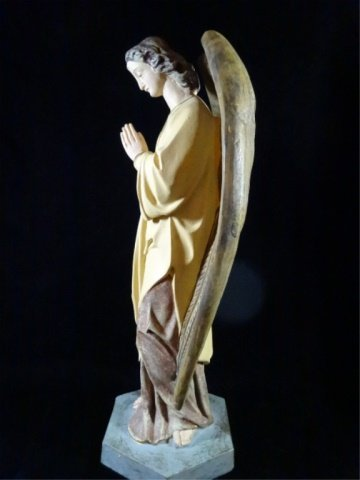 "PRAYING ANGEL SCULPTURE, COMPOSITION, APPROX 17.5""H - 4"