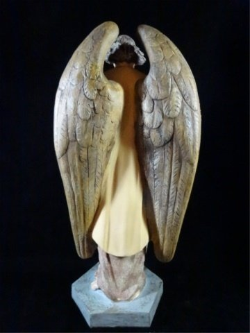 "PRAYING ANGEL SCULPTURE, COMPOSITION, APPROX 17.5""H - 5"