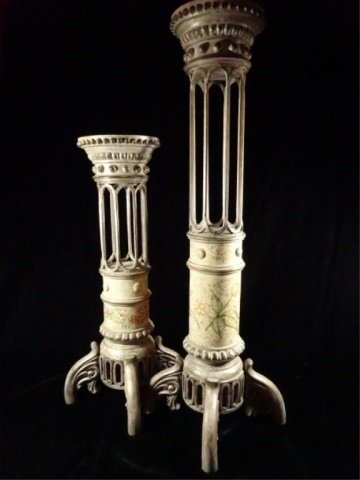2 LARGE METAL AND COMPOSITE CANDLE HOLDERS, PAINTED