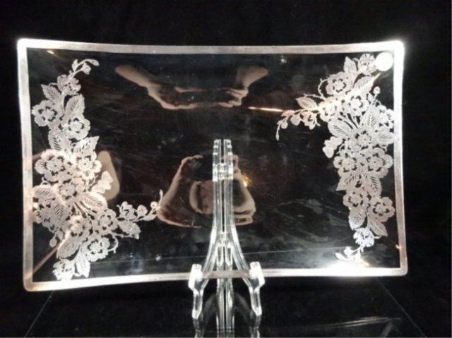 """SILVER OVERLAY TRAY, APPROX 15.75"""" X 10"""""""