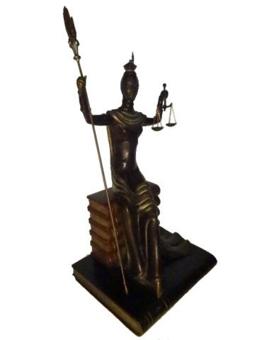 ERTE BRONZE SCULPTURE, JUSTICE AS A GODDESS SEATED ON A - 10