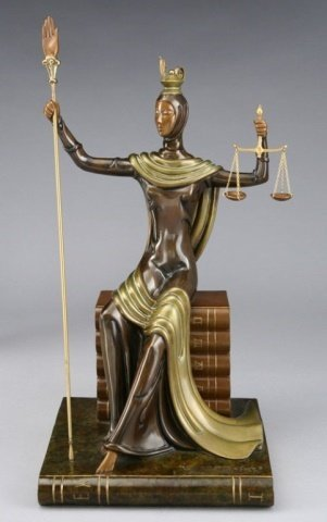 ERTE BRONZE SCULPTURE, JUSTICE AS A GODDESS SEATED ON A