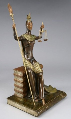 ERTE BRONZE SCULPTURE, JUSTICE AS A GODDESS SEATED ON A - 2