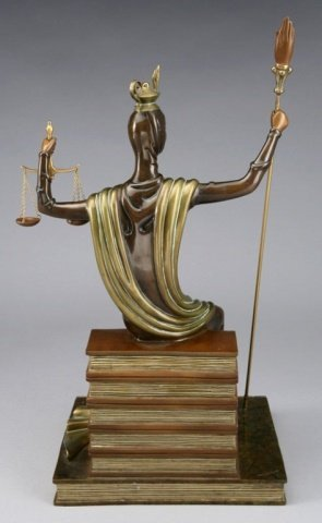 ERTE BRONZE SCULPTURE, JUSTICE AS A GODDESS SEATED ON A - 4