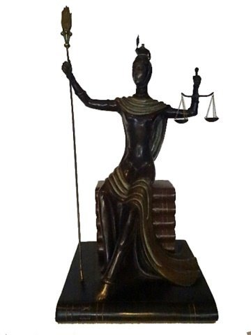 ERTE BRONZE SCULPTURE, JUSTICE AS A GODDESS SEATED ON A - 5