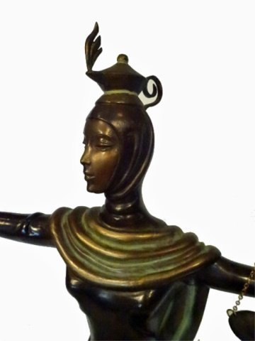 ERTE BRONZE SCULPTURE, JUSTICE AS A GODDESS SEATED ON A - 6