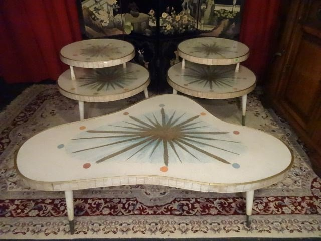 3 PC 1950's MID CENTURY MODERN TABLES, COFFEE AND PAIR