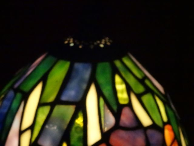 TIFFANY STYLE STAINED LEADED GLASS LAMP, FLORAL SHADE, - 6