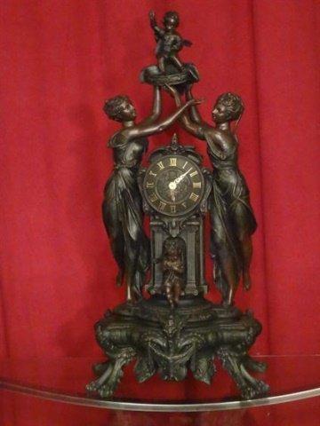 LARGE FIGURAL CLOCK, BRONZE FINISH RESIN COMPOSITE,