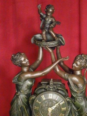 LARGE FIGURAL CLOCK, BRONZE FINISH RESIN COMPOSITE, - 3