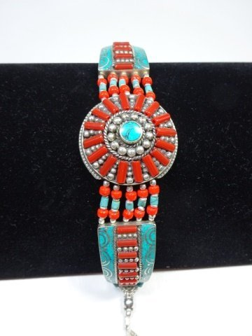 "TURQUOISE & CORAL BRACELET, APPROX 8""L"