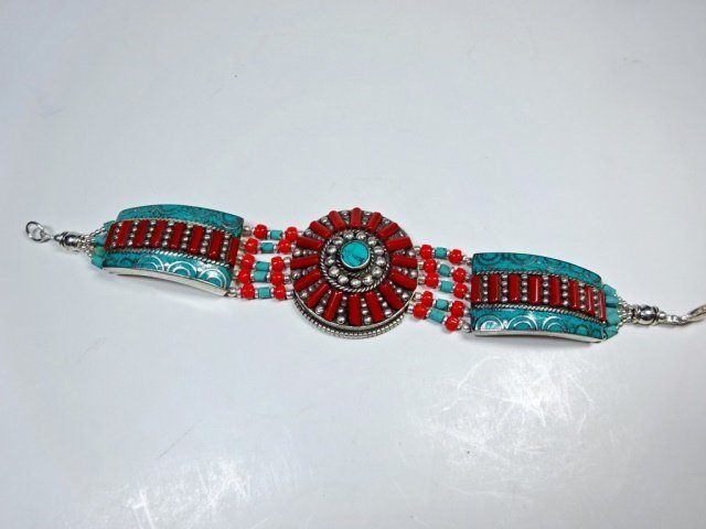 "TURQUOISE & CORAL BRACELET, APPROX 8""L - 2"