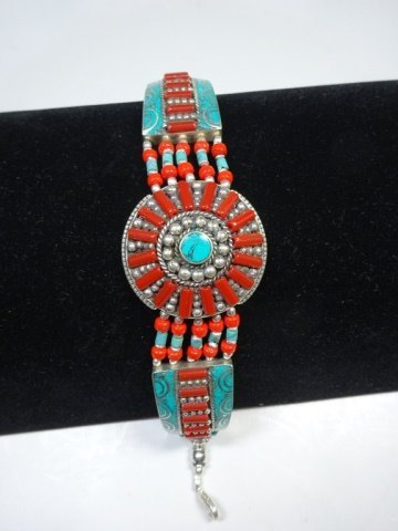 "TURQUOISE & CORAL BRACELET, APPROX 8""L - 4"
