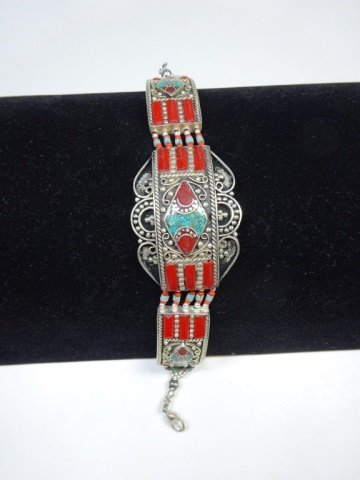 """TURQUOISE & CORAL BRACELET, APPROX 7.5""""L"""