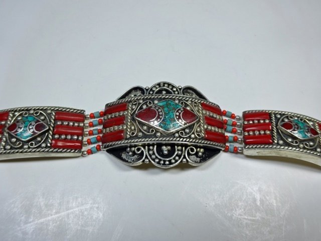 """TURQUOISE & CORAL BRACELET, APPROX 7.5""""L - 3"""