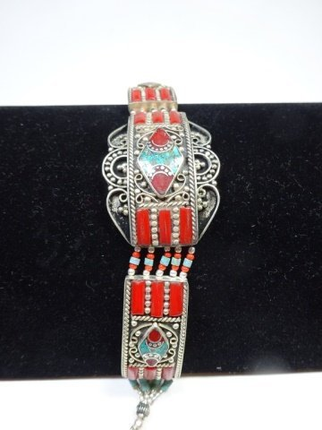 """TURQUOISE & CORAL BRACELET, APPROX 7.5""""L - 4"""
