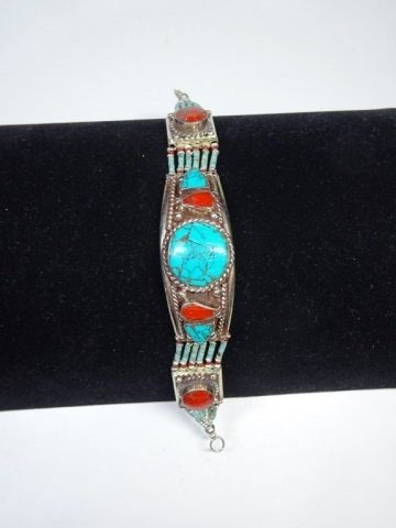 """TURQUOISE & CORAL BRACELET, APPROX 7""""L"""